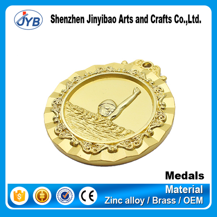 Gold plated custom hollow out sport swimming medal and trophy