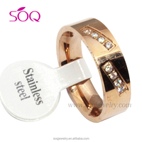 Latest unique design parallel brillant rose gold plated fashion ring jewelry
