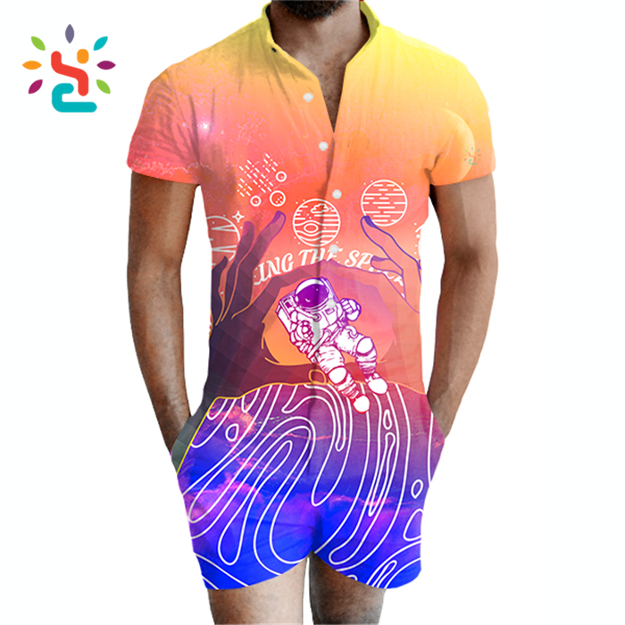 Wholesale printing travel space romper adult men bamboo fiber men's room pajama rompers Jumpsuit for male