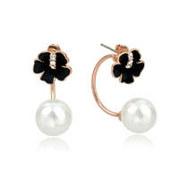 Personalized black flower shape stud earring with pearl pendant drop earring, fashion gold earring with pearl