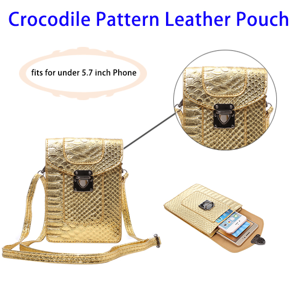 New Fashionable Crocodile Texture Leather Pouch Phone Bag for 5.7 Inch Smartphones