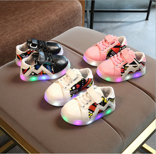 2017 Fashion Lovely LED lighting shoes for kids baby boys girls shoes hot sales glowing children sneakers