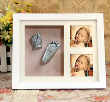 family Handprint & Footprint 3D casting kit gifts with wood photo Frame newborn baby kids birthday gift wedding keepsake