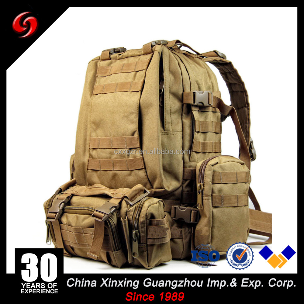 Guangzhou Xinxing 40L High Quality Army Military Travel Camouflage Outdoor Nylon Big Capacity Backpack with Camera Bag