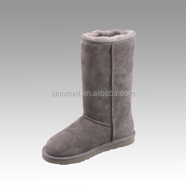 Grey sheep wool tall winter women boots in europe and russia