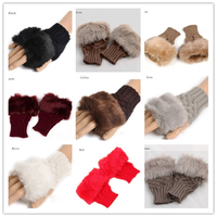 Hot sale women winter knitted rabbit fur fingerless cotton knitted gloves