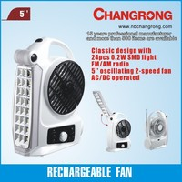 hot selling rechargeable fan light with radio