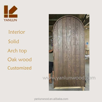 upright panel finished white oak wood arch top garage door