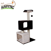 Wholesale Indoor Cat Furniture Amusing Cat Scratcher With Swing Toy And Two Tunnels