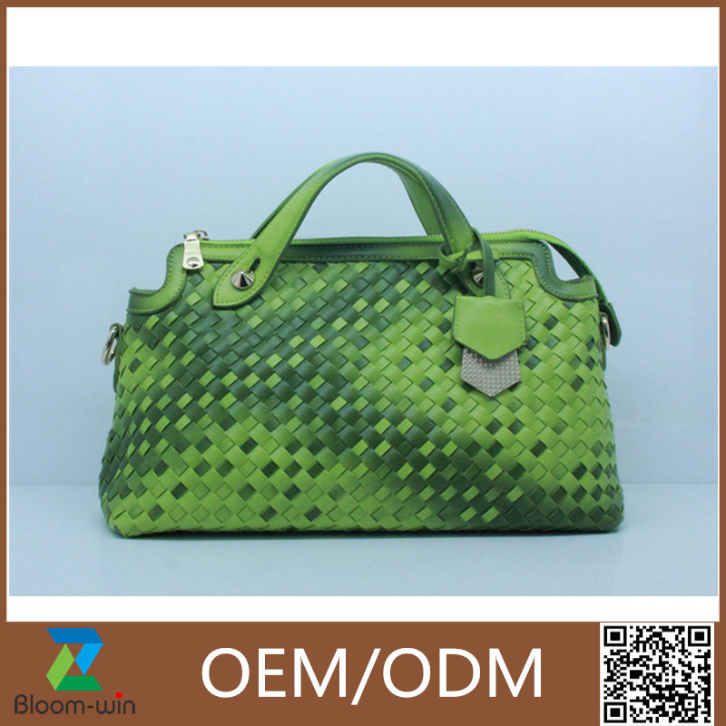 Hot sale pu <strong>leather</strong> knitted women tote bags wholesale Guangzhou