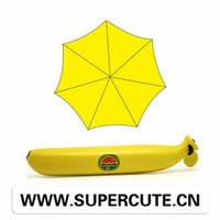 Special outfit yellow color Hard plastic food shape rainy day folding umbrella