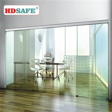 2016 New design office interior frameless sliding door with soft close