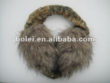 2012 fashion lovely knit ear cover with rabbit fur