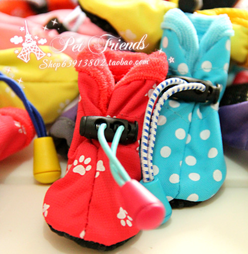Free Shipping winter warm dog Boots soft Slip Waterproof dog shoes