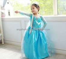 fashion elsa dress cosplay costume in frozen elsa mascot costume frozen movie formal dress and snowflake fabric for elsa FC2024