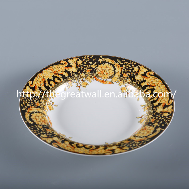 luxury royal 8 inch bone china soup plate, decal chaozhou serving trays for Star Hotel, Restaurant, Banquet, Wedding
