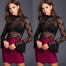 X63203A Women Flare Sleeve Backless Autumn Sexy Black Lace Jumpsuits
