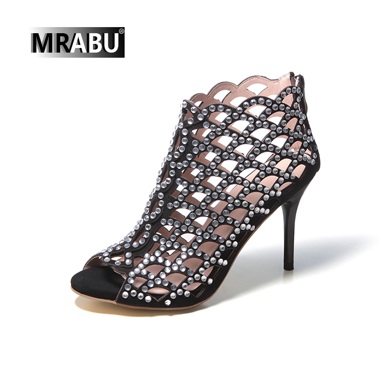peep toe crystal summer bling boots wholesale rhinestone sandals women shoes