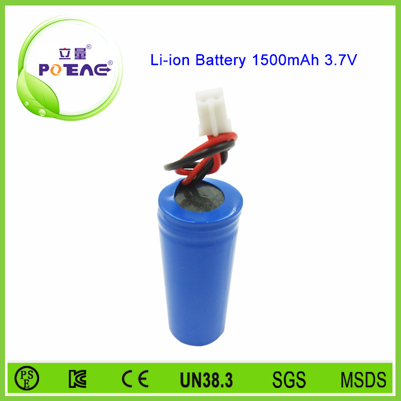 18500 rechargeable li-ion battery 1500mah 3.7V for led lighting