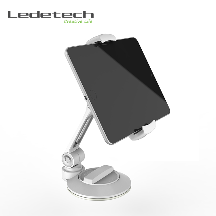 Aluminum 360 degree rotating vertical laptop desktop stand smartphone holder sucker cup holder for iphone ipad pad mount