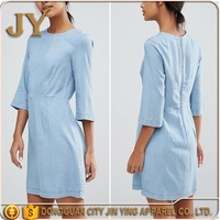 Women Clothing 2017 China Manufacturer Fitted Dress, Raw-cut Three-quarter Length Sleeves Dress, Plain Blue Dresses for Women