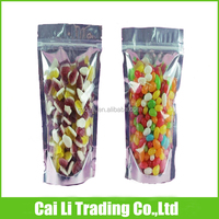 clear front foil back printed stand up candy packaging bags