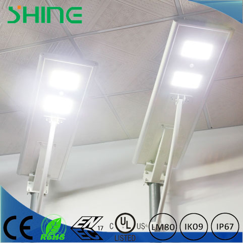 CE RoHS FCC IP65 5 years warranty Lumileds LED chip integrated solar street light