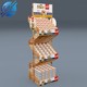 Custom POS 2 sided wooden bread display rack timber food stand shelf in supermarket