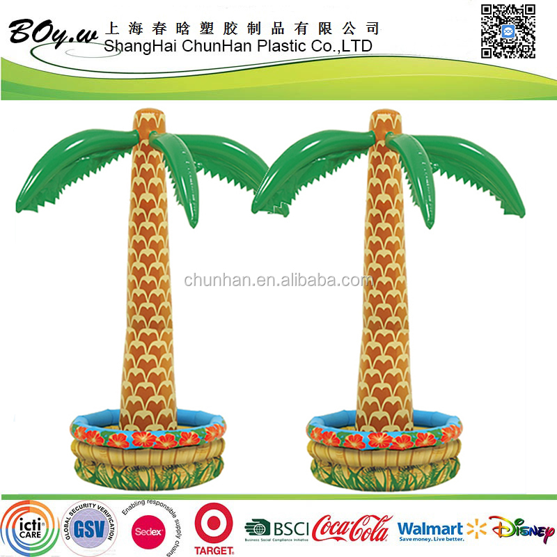 EN71 factory safety hot sale part bar buffet beverage inflatable ice cooler pvc palm tree bucket