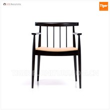 wooden leather dining chair with armrests