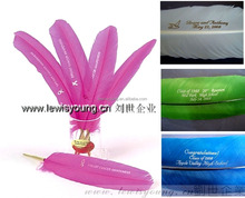 Fashion Design Advertising turkey Feather Pens customized logo Christmas wedding gift