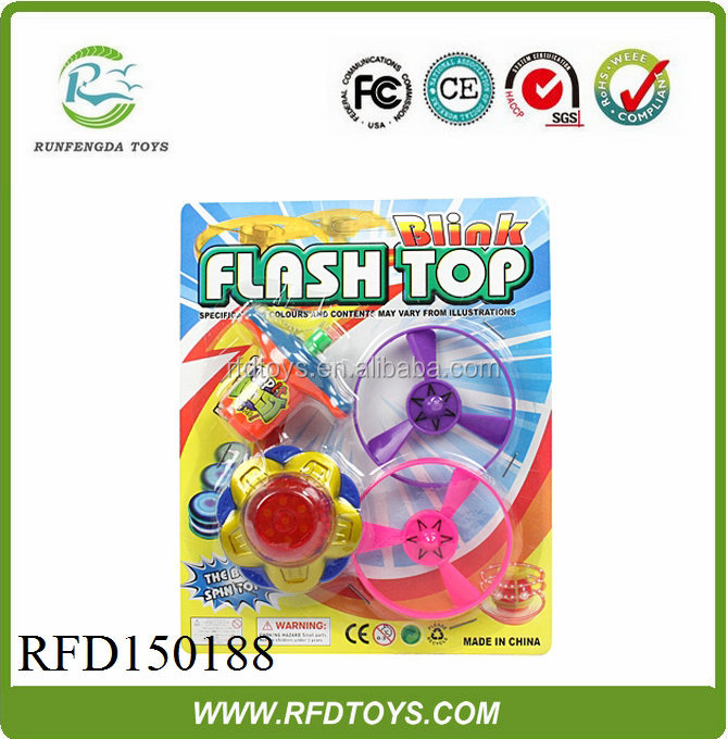 Children's games hot sale funny plastic flashing light super spinning top toys
