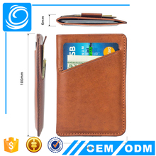 RFID blocking card sleeve wallet Italian leather slim wallet card holder with pull tab