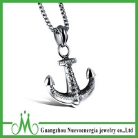 Stainless Steel Anchor Pendant Silver Letter Necklace Men's Nautical Boat Jewelry