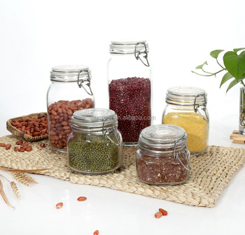 Set 5 Clear Eco-friendly Square Glass Storage Jars with Clip Locking Lid