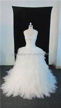 Sexy bling beading bodice strapless ball gown wedding dress of puffy net skirt of long train