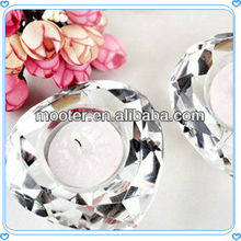 Customized Transparent Crystal Candle Holder For New House Desk Drcoration Favor