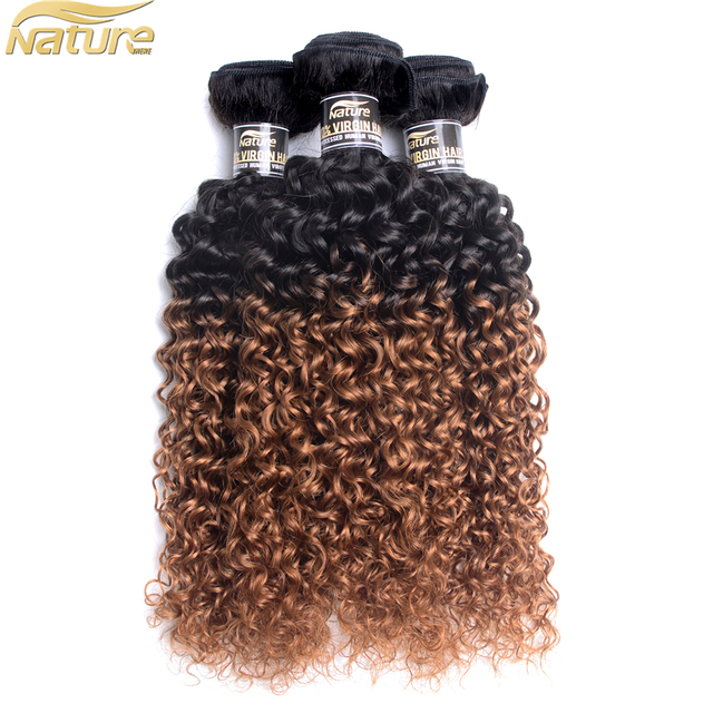Afro Kinky Curly T1B/30 Jerry Kinky Curl Human Hair Weft Free Tress Hair Weaving