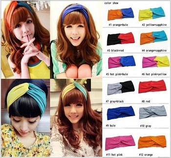 Europe and American Fashion Spell Color Wide Turban Headband Elastic Hair Headband