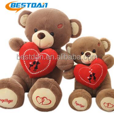 Bestdan manufacture Valentine gift custom soft plush toy red heart teddy bear