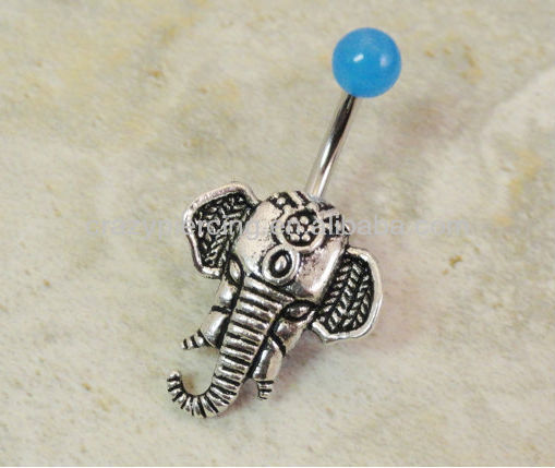 2014 elephant stainless steel make moon and star belly button rings