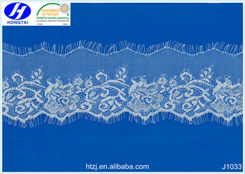 from hongtai Eyelash Laces Floral lace fabric for wedding dress