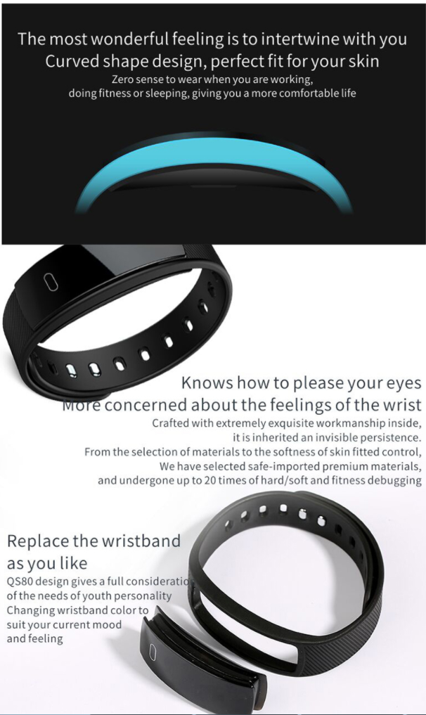 Smart bracelet wristband Blood Pressure Measure Heart Rate Monitor Pedometer Watch Pulse Fitness Tracker QS80