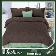 luxury brand name plain style short floss home textile twin bedding comforter set in duba