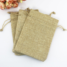 Custom bread linen Drawstring small shopping bag