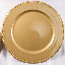 "Wholesale Factory 13"" Gold Plastic Charger Plates"