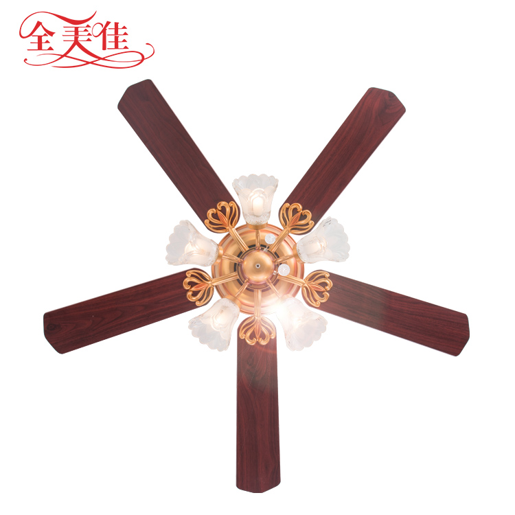 Zhongshan Factory Decorative Modern Design Antique 52'' 5 Blades Inverter Ceiling Fan With Bulb Light