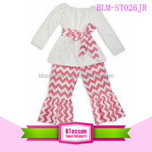 New style Wholesale bulk kids clothes Cheap chevron adults Baby Girls Clothing Set Children's Boutique Clothing with ruffle