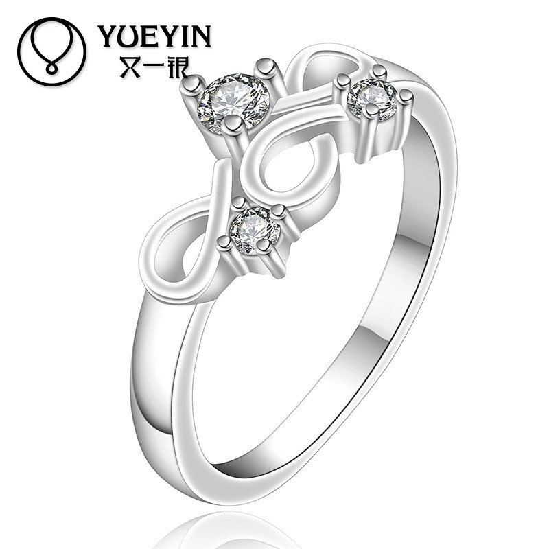 Stylish Glowing Ladies Design Lucky Stone Silver Ring for Wedding