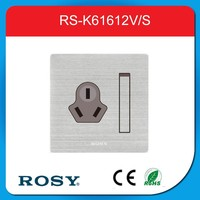 one-bit dual big rocker switch 16A three flat socket stainless steel wiredrawing panel